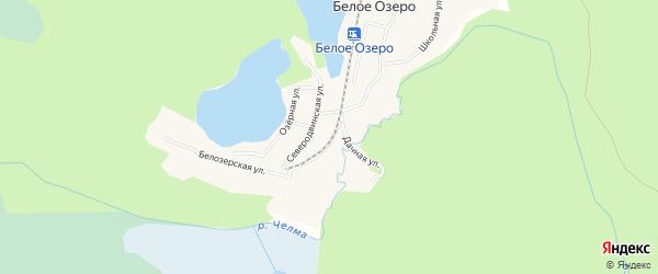 Карта поселка Белого Озера города Северодвинска в Архангельской области с улицами и номерами домов