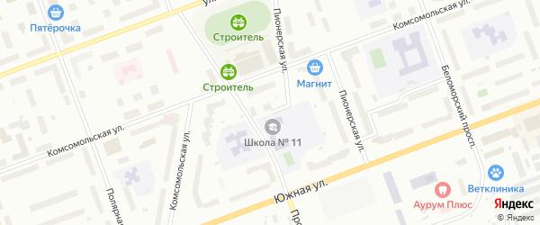 Улица Строителей на карте села Неноксы с номерами домов