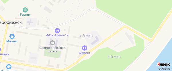 4-й микрорайон на карте поселка Североонежска с номерами домов