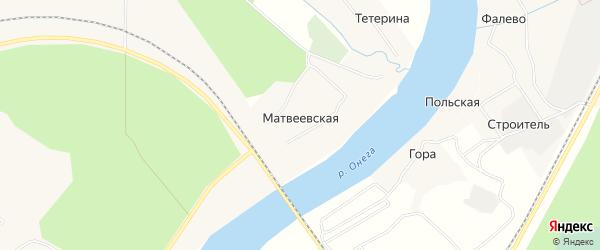 Карта Матвеевской деревни в Архангельской области с улицами и номерами домов
