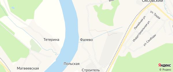 Карта деревни Фалево в Архангельской области с улицами и номерами домов