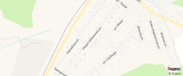 Индустриальная улица на карте Оксовский поселка с номерами домов