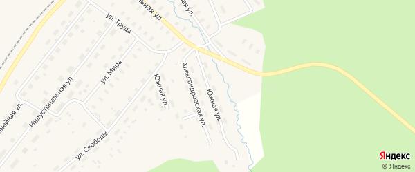 Южная улица на карте Оксовский поселка с номерами домов