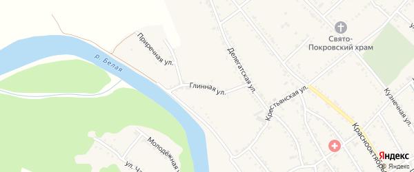 Глинная улица на карте Ханской станицы с номерами домов