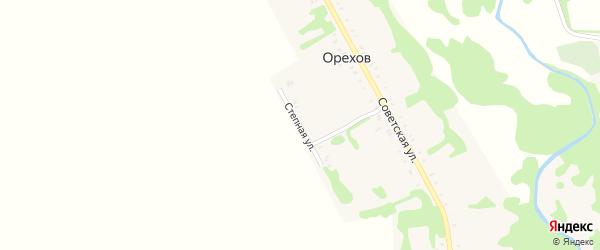 Степная улица на карте хутора Орехова с номерами домов