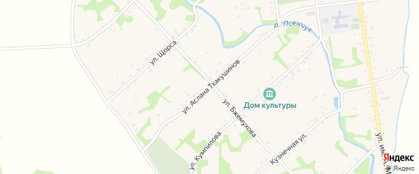 Улица им профессора А.К.Тхакушинова на карте аула Уляпа с номерами домов