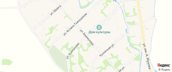 Улица им Б.М.Бжемухова на карте аула Уляпа с номерами домов