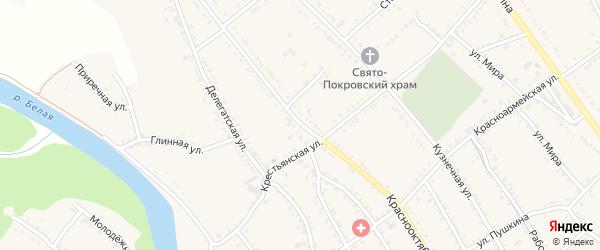 Краснооктябрьская улица на карте Ханской станицы с номерами домов