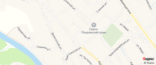 Краснооктябрьский переулок на карте Ханской станицы с номерами домов