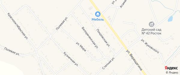 Белореченская улица на карте Ханской станицы с номерами домов