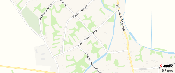 Комсомольская улица на карте аула Уляпа с номерами домов