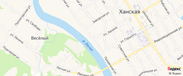 Приречная улица на карте Ханской станицы с номерами домов