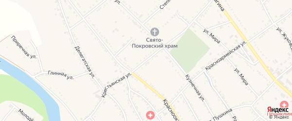 Крестьянская улица на карте Ханской станицы с номерами домов