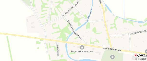 Комсомольский переулок на карте аула Уляпа с номерами домов