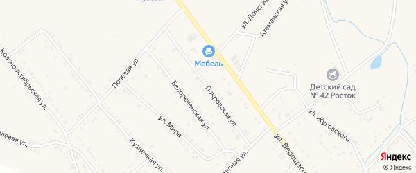 Покровская улица на карте Ханской станицы с номерами домов