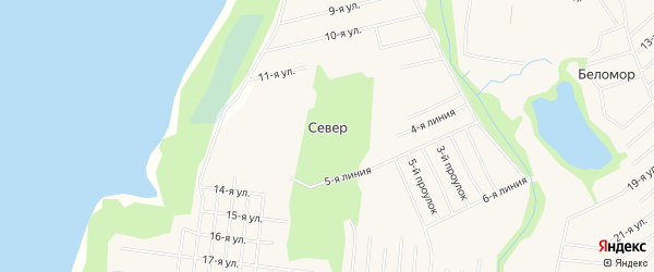 СНТ СЕВЕР на карте Северодвинска с номерами домов