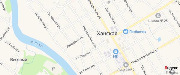 Первомайская улица на карте Ханской станицы с номерами домов
