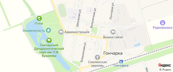 Центральная улица на карте поселка Гончарки с номерами домов