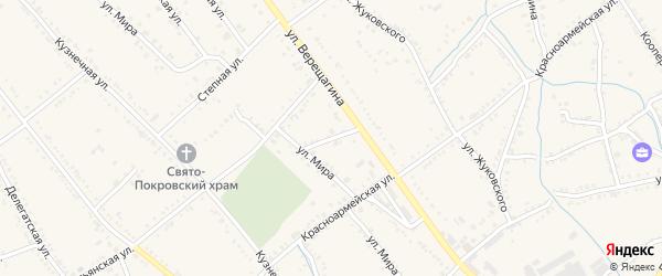 Шоссейная улица на карте Ханской станицы с номерами домов