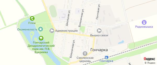 Больничная улица на карте поселка Гончарки с номерами домов