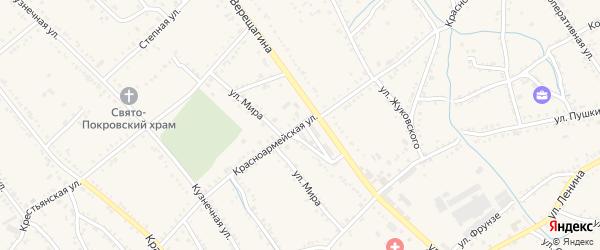 Красноармейская улица на карте Ханской станицы с номерами домов