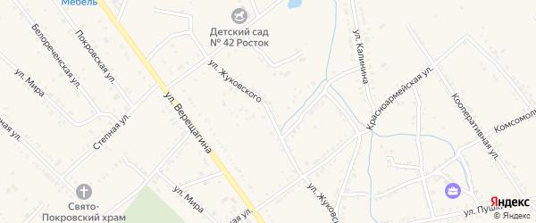 Улица Жуковского на карте Ханской станицы с номерами домов
