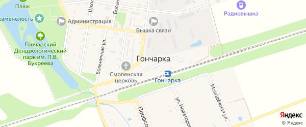 Железнодорожная улица на карте поселка Гончарки с номерами домов