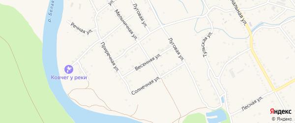 Весенняя улица на карте Ханской станицы с номерами домов