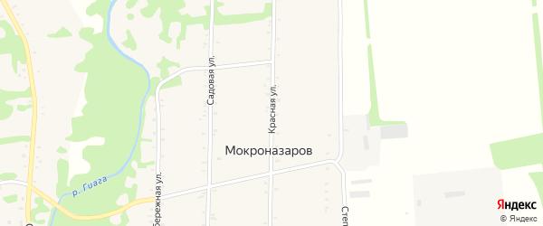 Красная улица на карте хутора Мокроназарова с номерами домов