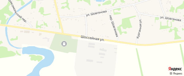 Шоссейная улица на карте аула Уляпа с номерами домов