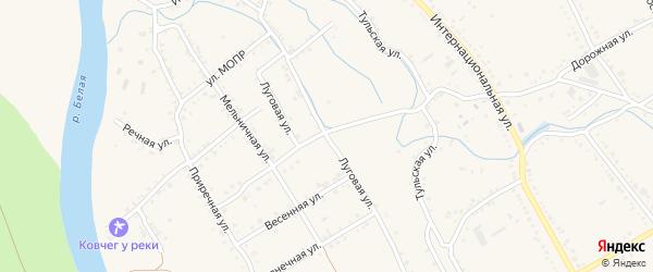 Луговая улица на карте Ханской станицы с номерами домов