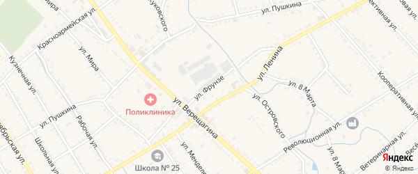 Улица Фрунзе на карте Ханской станицы с номерами домов