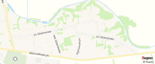 Улица Шовгенова на карте аула Уляпа с номерами домов