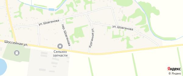 Курганная улица на карте аула Уляпа с номерами домов