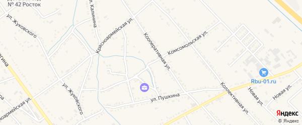 Комсомольская улица на карте Ханской станицы с номерами домов