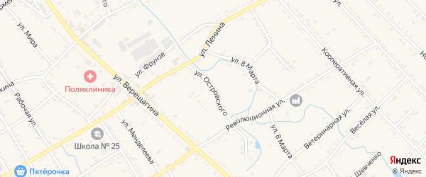 Улица Островского на карте Ханской станицы с номерами домов