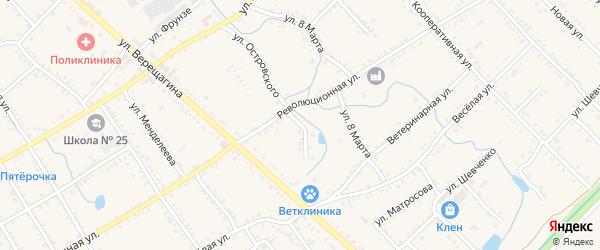 Улица Новая Островского на карте Ханской станицы с номерами домов