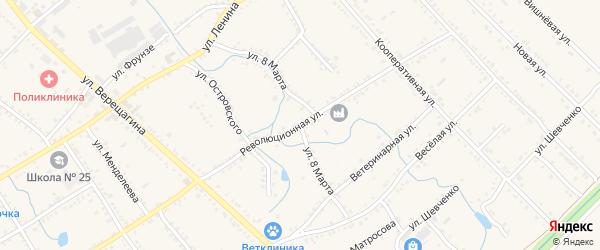 Улица 8 Марта на карте Ханской станицы с номерами домов