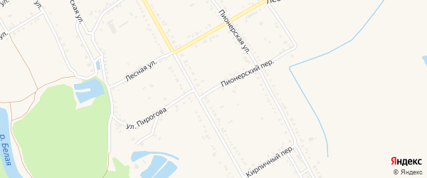 Пионерский 1-й переулок на карте Ханской станицы с номерами домов