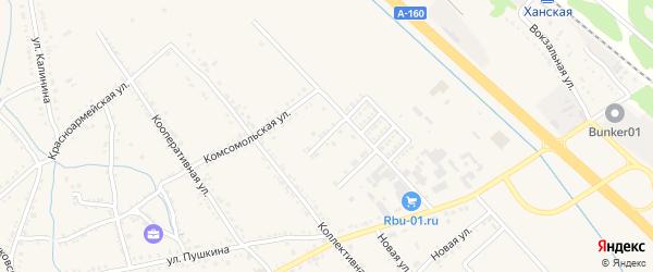 Комсомольский переулок на карте Ханской станицы с номерами домов