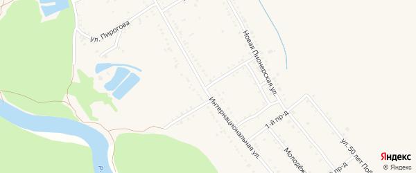 Кирпичный переулок на карте Ханской станицы с номерами домов