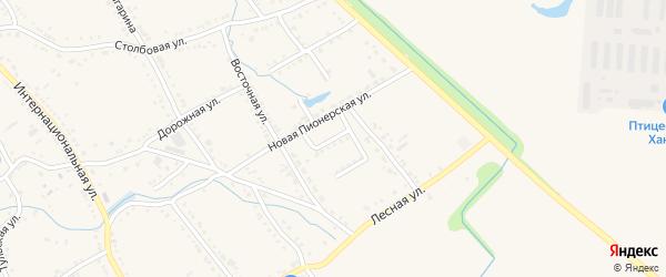 Переулок Ветеранов на карте Ханской станицы с номерами домов