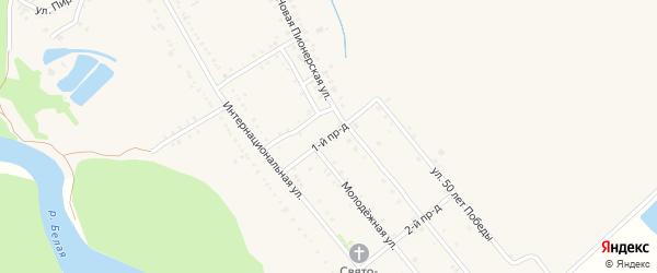 1-й проезд на карте Ханской станицы с номерами домов