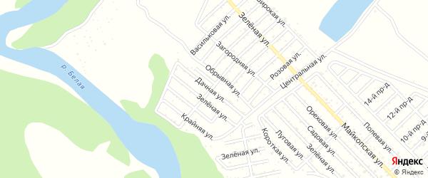 Зеленая улица на карте садового некоммерческого товарищества Джанатана с номерами домов