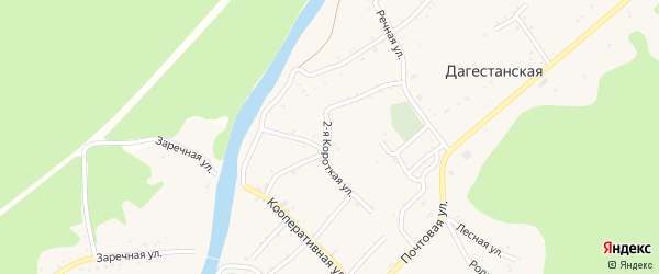 Короткая 2-я улица на карте Дагестанской станицы с номерами домов