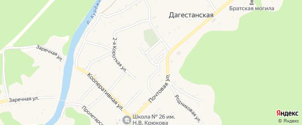 Зеленая улица на карте Дагестанской станицы с номерами домов