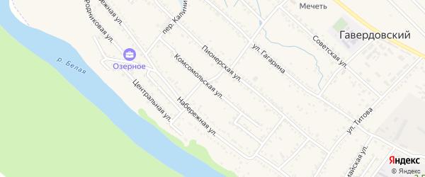 Комсомольская улица на карте Гавердовского хутора с номерами домов