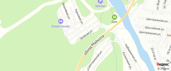 Зеленая улица на карте садового некоммерческого товарищества Заречного-2 с номерами домов