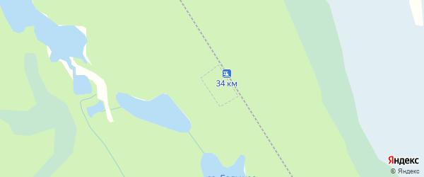Карта железнодорожного разъезда 34 км в Архангельской области с улицами и номерами домов