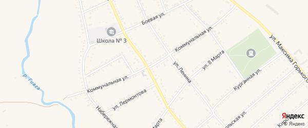Коммунальная улица на карте Гиагинской станицы с номерами домов